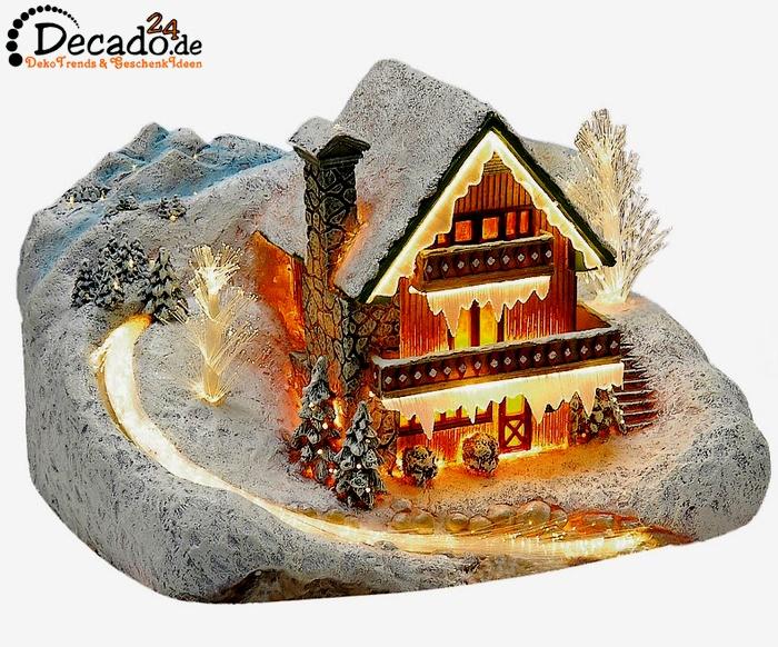 Deko winterhaus mit beleuchtung weihnachtsdekoration bei - Winterlandschaft deko ...