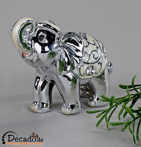 Deko-Elefant silber, Figur, Tier, Zoo, Wohnzimmer - bei Decado24.de