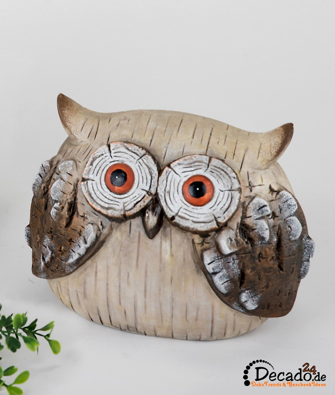 deko eule holzoptik keramik garten figur tier bei. Black Bedroom Furniture Sets. Home Design Ideas